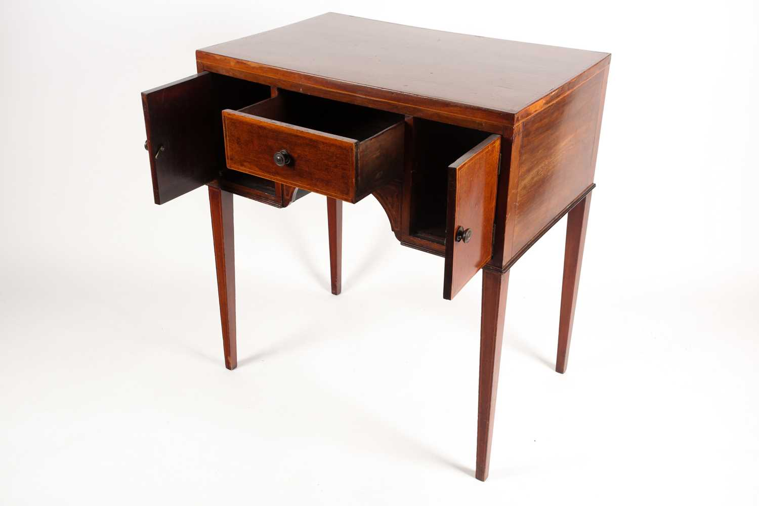 An Edwardian satinwood and tulipwood banded mahogany caddy topped kneehole dressing table with one - Image 3 of 5
