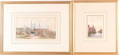 Jan Van Couver (1836-1909) Dutch, 'On a Dutch Canal', monogrammed watercolour, 13.5 cm x 9 cm,