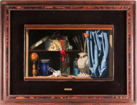Nadine Le Prince (b.1942), 'Etagere au Hibou', still life with artists brushes, oil on canvas,