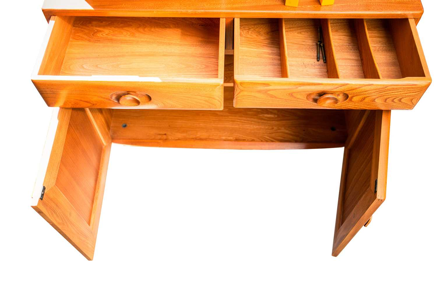 An Ercol golden dawn light elm two-section display cupboard. With two glazed doors above a base with - Image 3 of 3