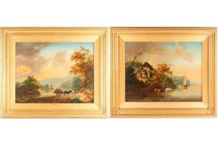 Jan Van Os (1744-1808) Dutch, pastoral scenes, signed J Van Os Fecit, oil on panel, a pair, 35 cm