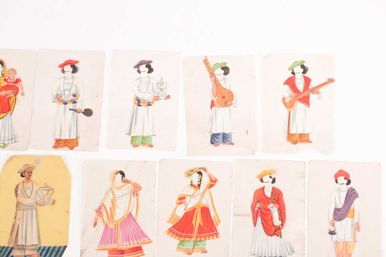 Twenty three Indian Company School mica studies of costumes, 19th century, depicting male and female - Image 10 of 10