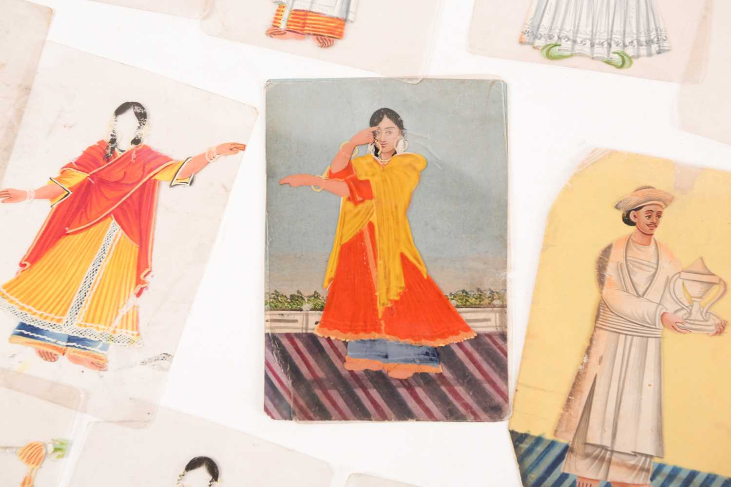 Twenty three Indian Company School mica studies of costumes, 19th century, depicting male and female - Image 7 of 10