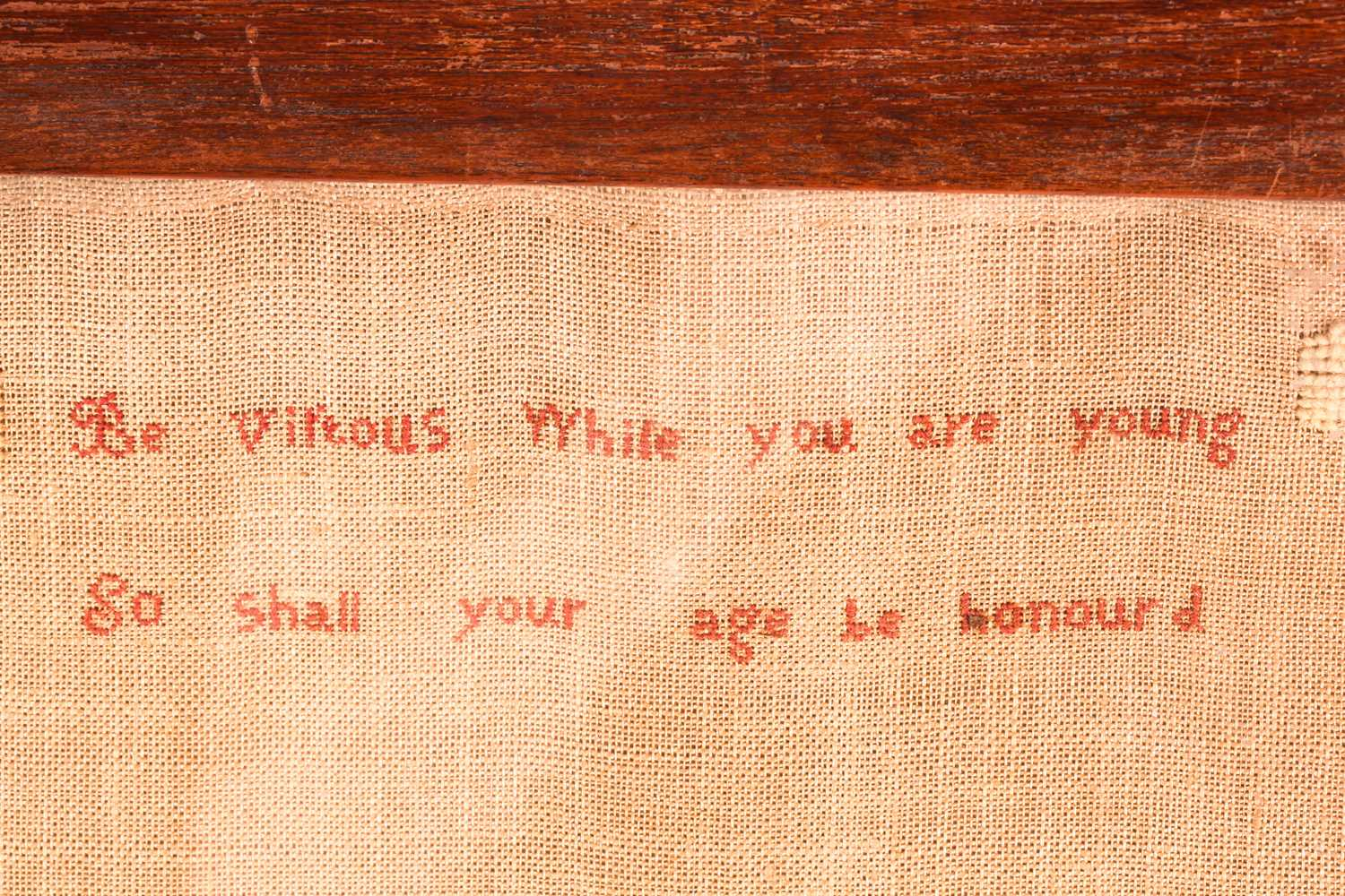 A large 19th century sampler, with trumpeting angels flanking verse ' Be vituous while you are - Image 4 of 4