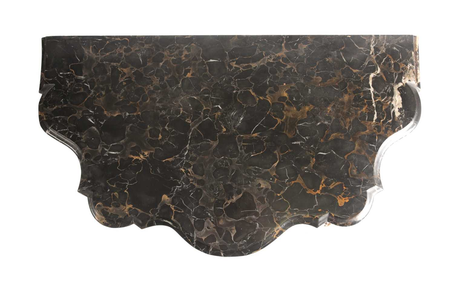 An Italianate marble-topped carved wood and gilt gesso serpentine console table with a single frieze - Image 8 of 9