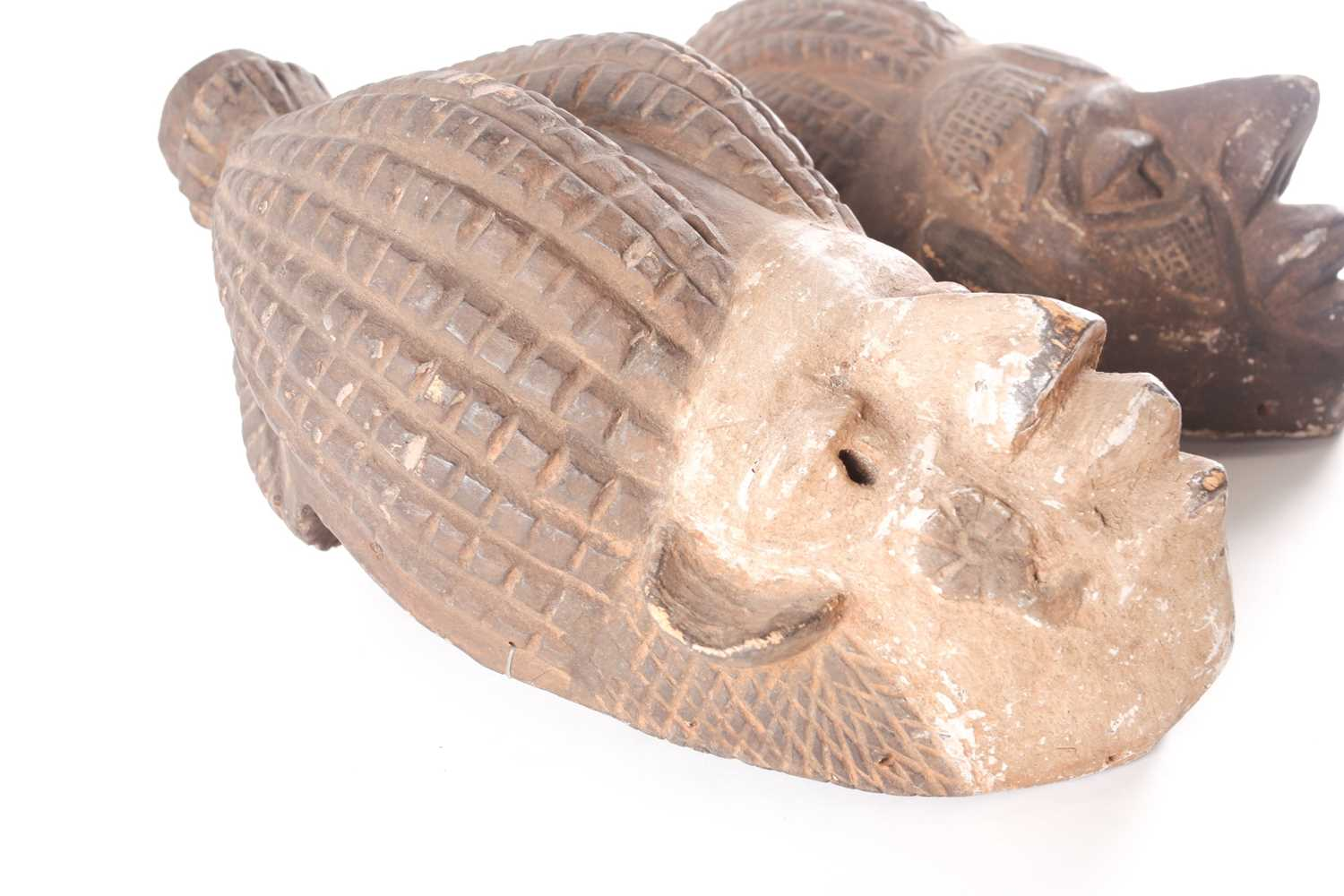 An Ibibio mask, Nigeria, with tall coiffure united at the top, the kaolin painted face with relief - Image 4 of 4
