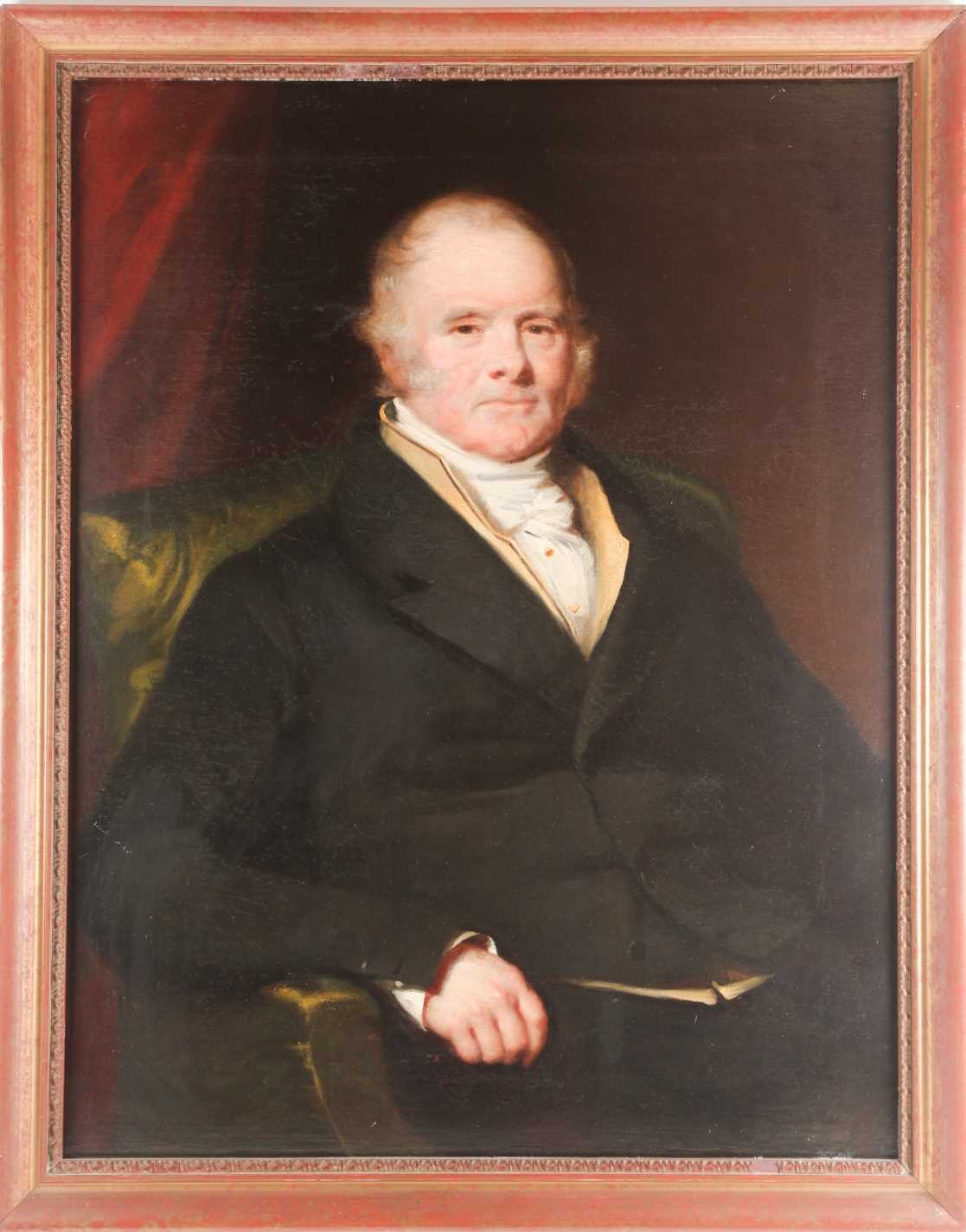 19th century British school, a half-length portrait of a seated gentleman, unsigned oil on canvas,