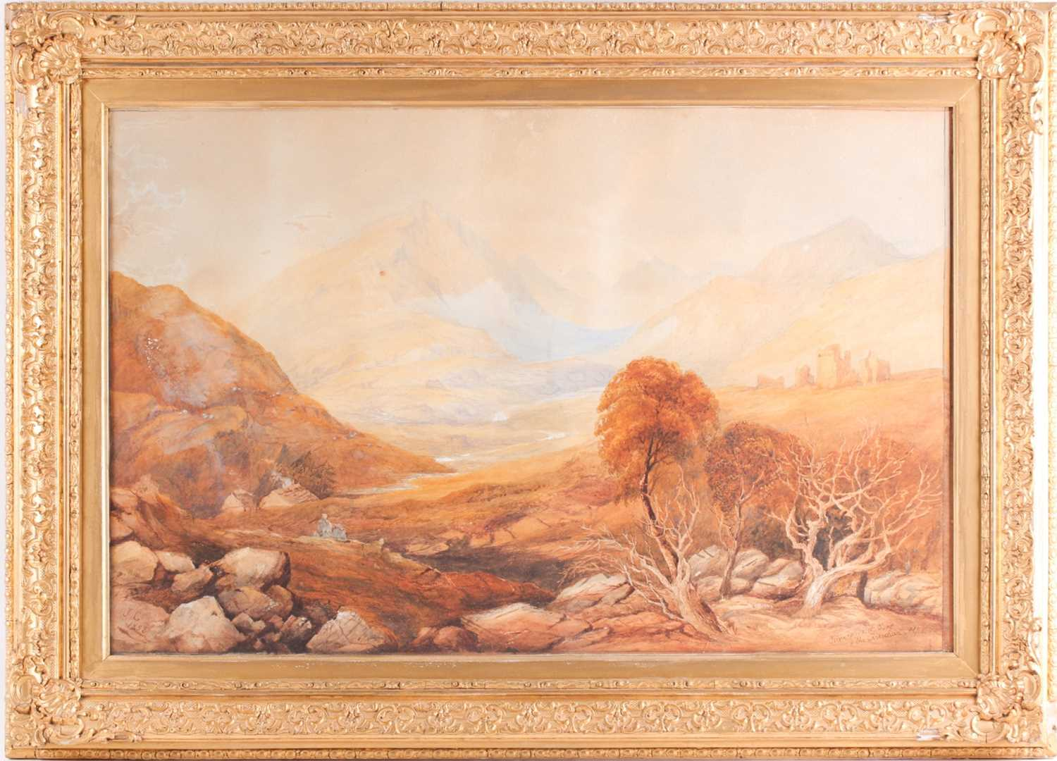 19th century Scottish school, a mountainous landscape, depicting the remains of a fort in the