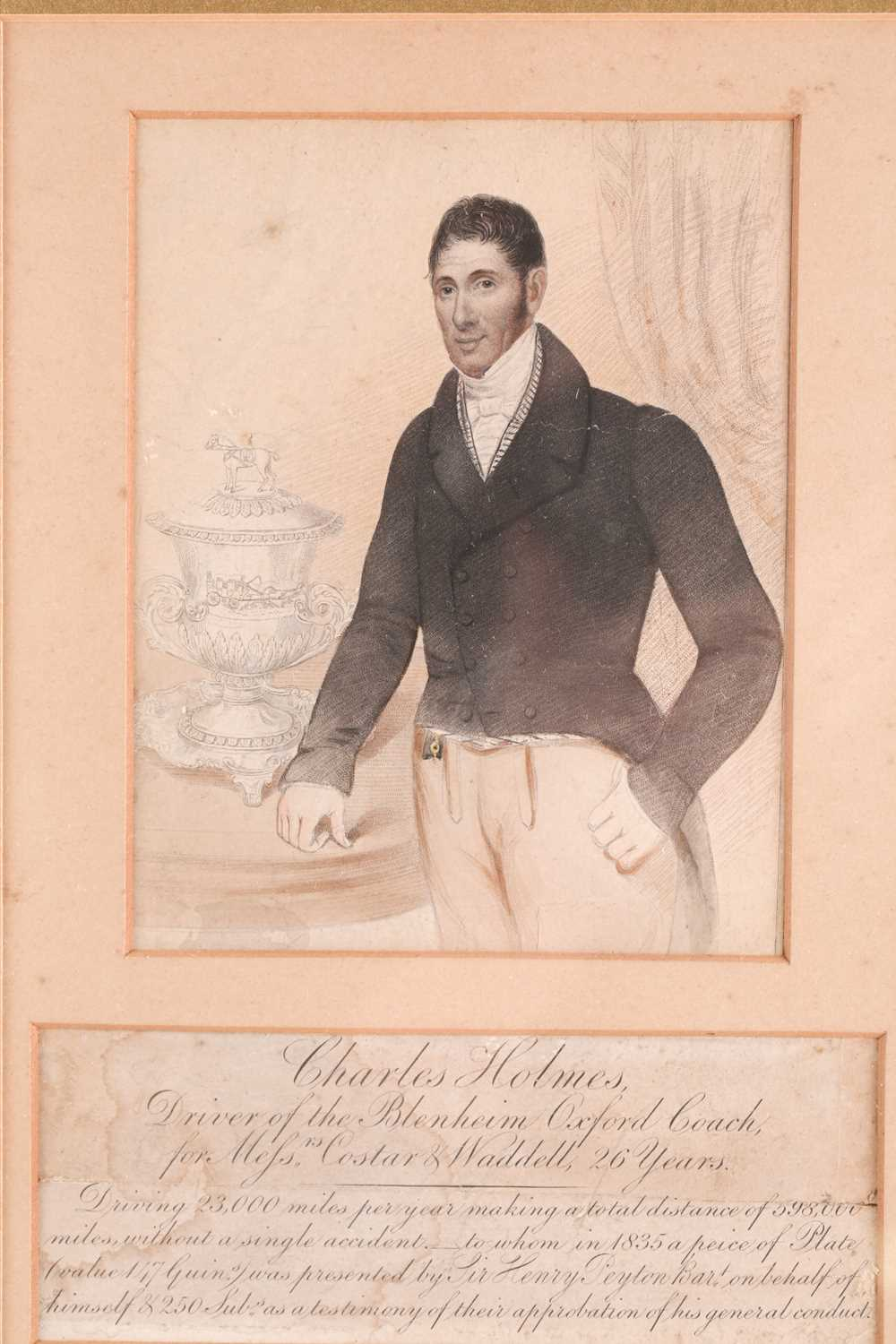A 19th century coloured engraving, portrait of Charles Holmes, 'Driver of the Blenheim Oxford Coach, - Image 2 of 3