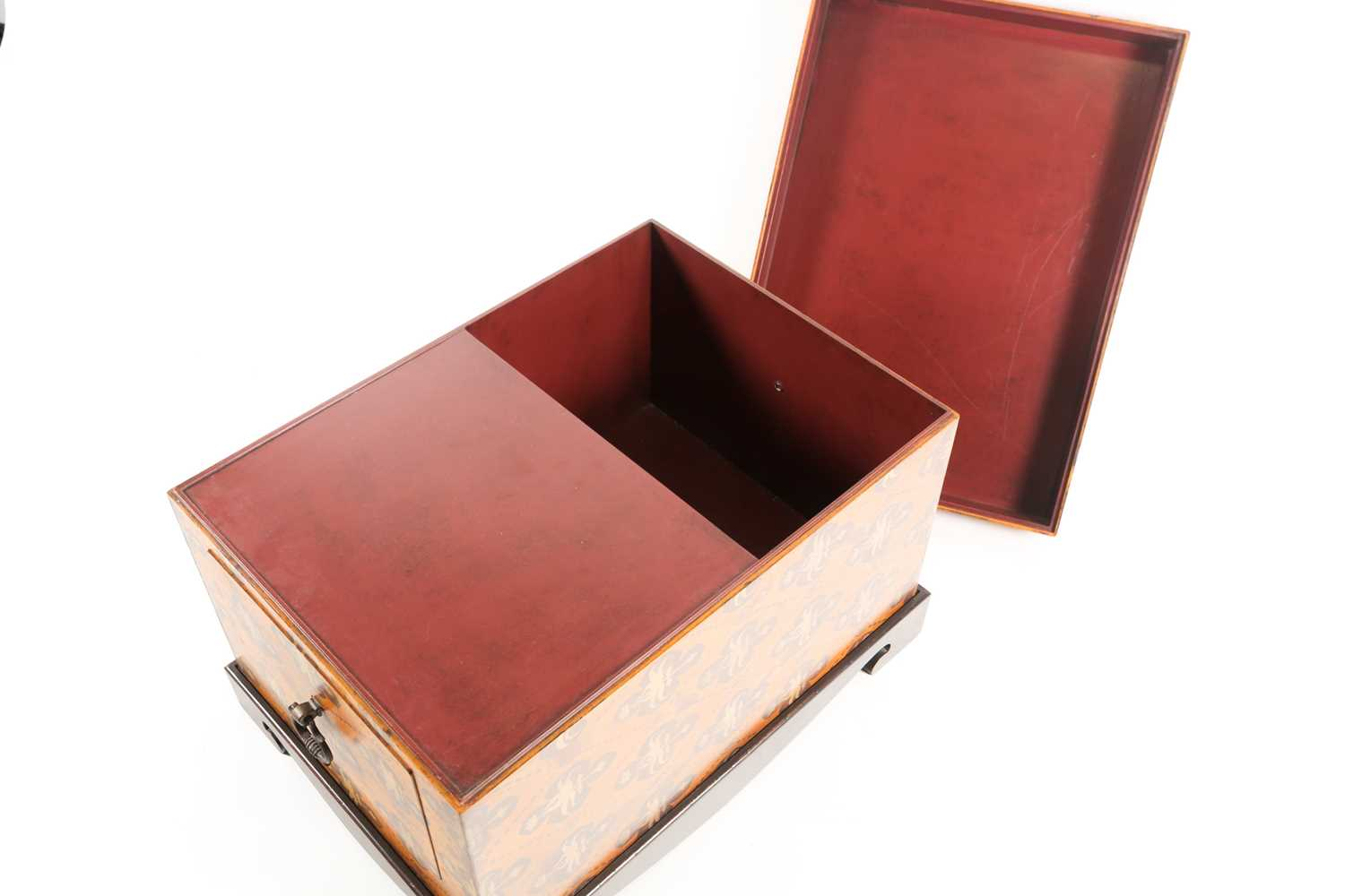 A 20th century two handled trunk with faux armorial painted decoration and a pair of brass - Image 2 of 3