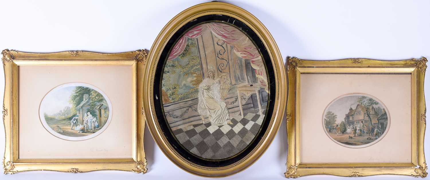 A Geo III silkwork picture, depicting a lady with lyre in a classical interior, in gilt frame, 35