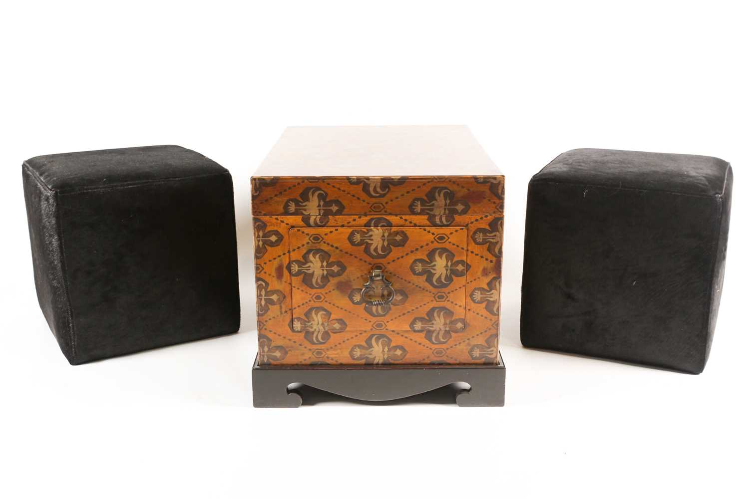 A 20th century two handled trunk with faux armorial painted decoration and a pair of brass