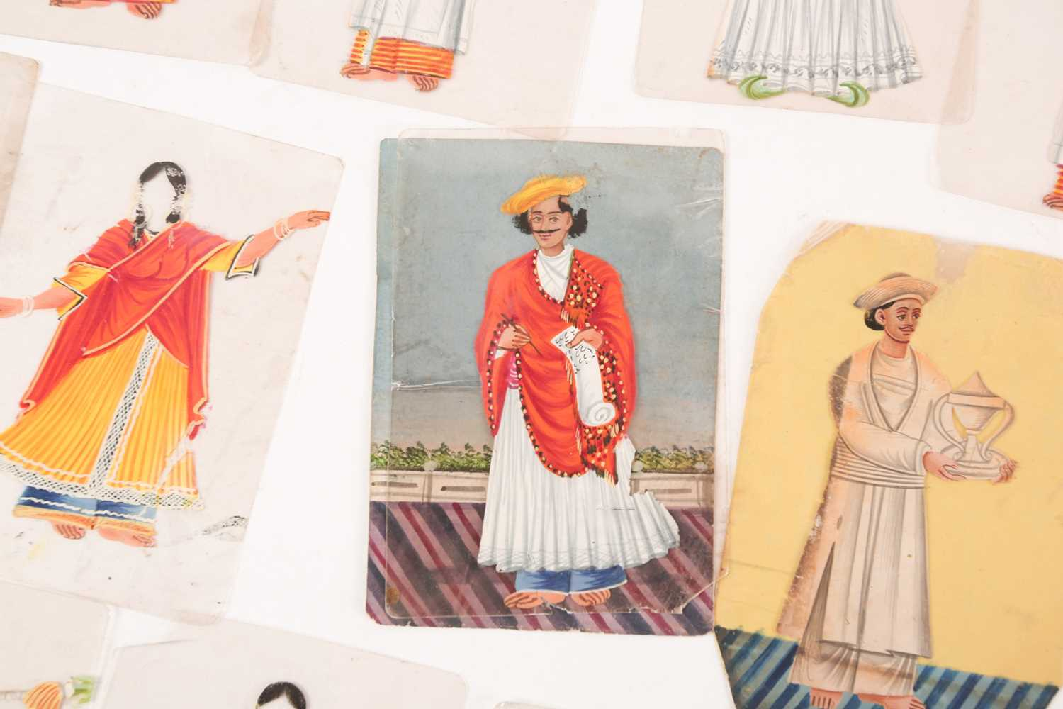 Twenty three Indian Company School mica studies of costumes, 19th century, depicting male and female - Image 8 of 10