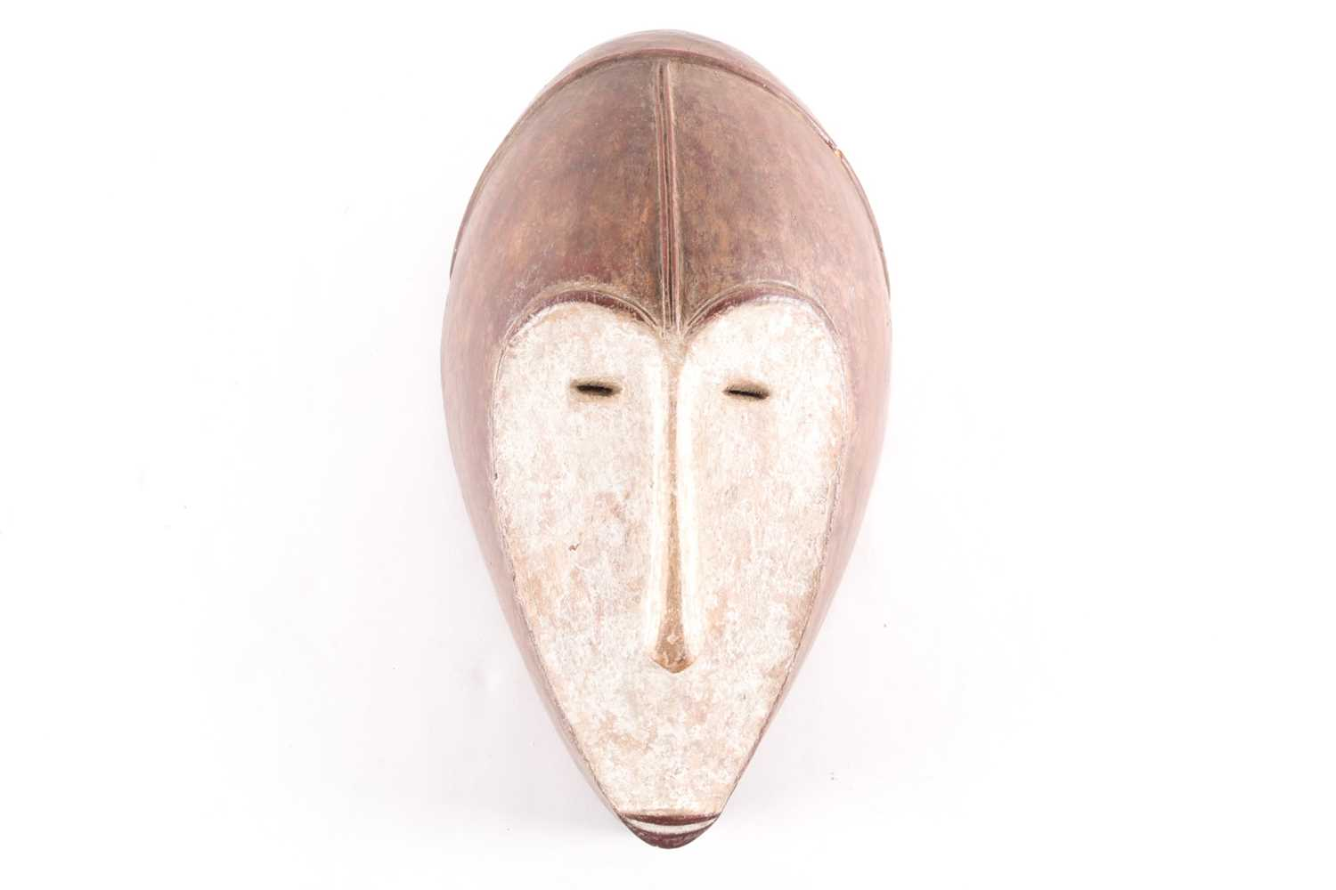 A Fang mask, Gabon, the forehead with a horizontal ridge above the channeled median ridge, the