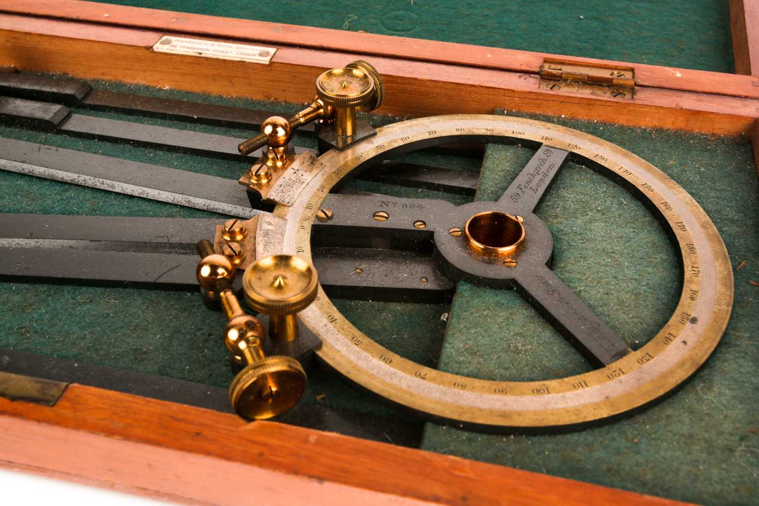 A H Hughes & Son naval station pointer No694, with silvered and brass dial, struck H Hughes & Son, - Image 2 of 4