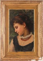 Angelo Ramognoli, (1850-1896), Portrait of a young girl, signed upper left, oil on panel, 28 cm x
