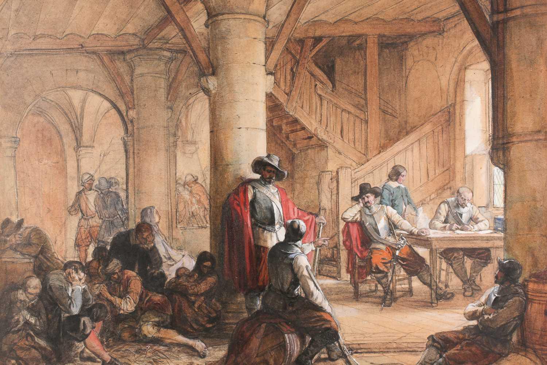 Louis Haghe HPRI (1806-1885) Belgian, 'The Suspects', a large pen & watercolour, 58 cm x 81 cm, - Image 2 of 9