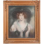 19th-century British school, a large head and shoulders portrait of a finely dressed young lady,