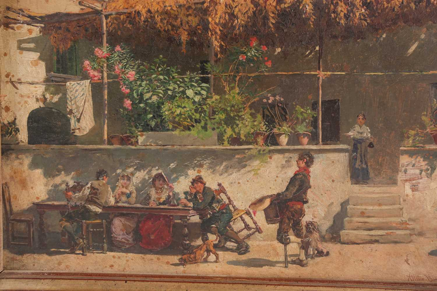 Attilio Simonetti (1874-1922), Waiting of lunch in the mid day sun, oil on panel, signed lower - Image 2 of 6