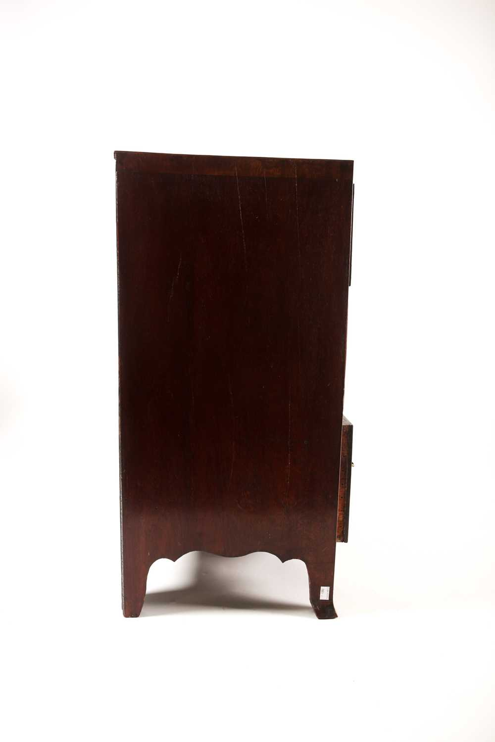 A small George III style satinwood strung mahogany caddy topped chest of drawers. With two short - Image 7 of 7