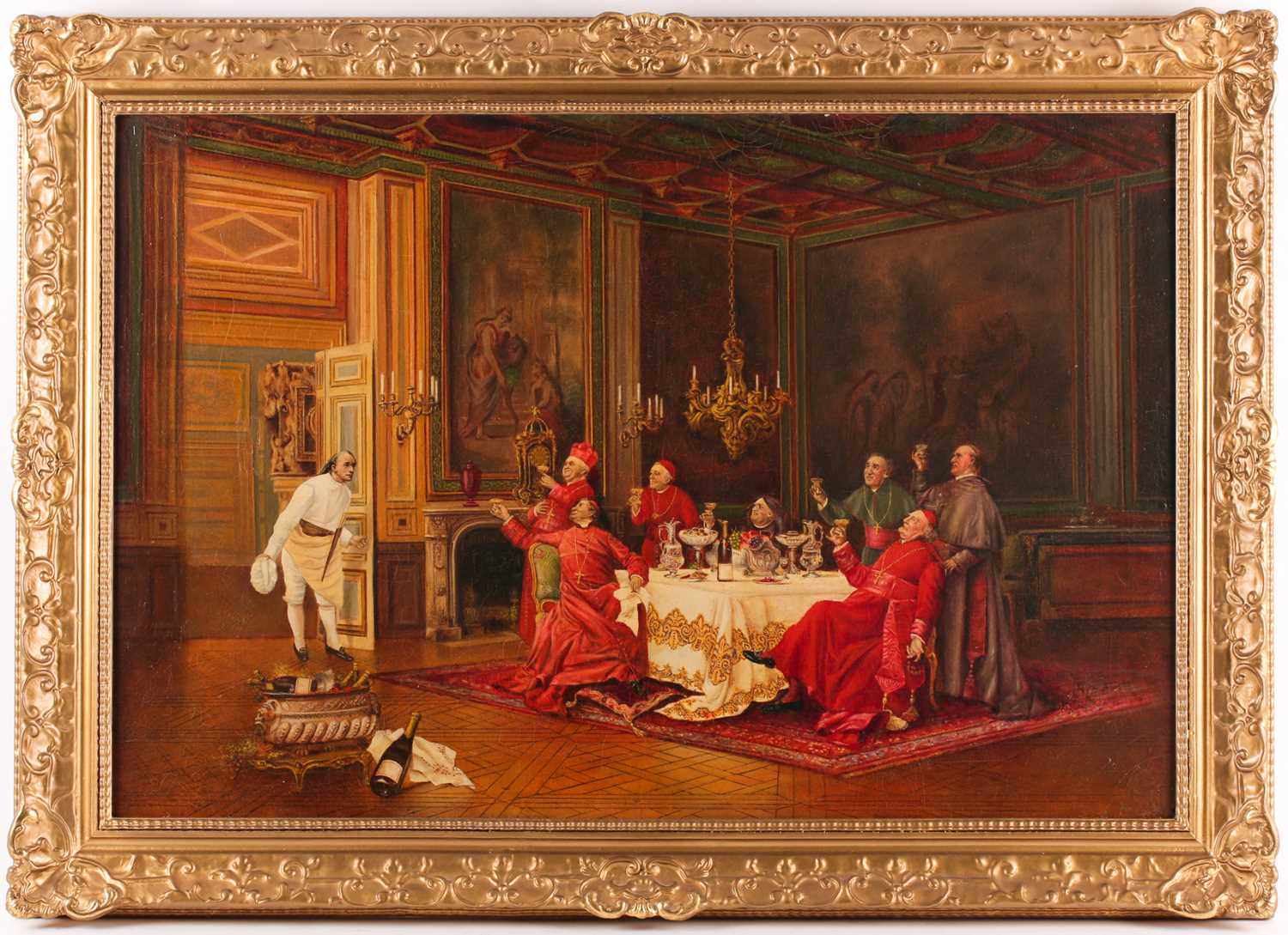 After Leo Hermann (1853-1927), a group of Cardinals raising a toast to a gentleman, seated in an