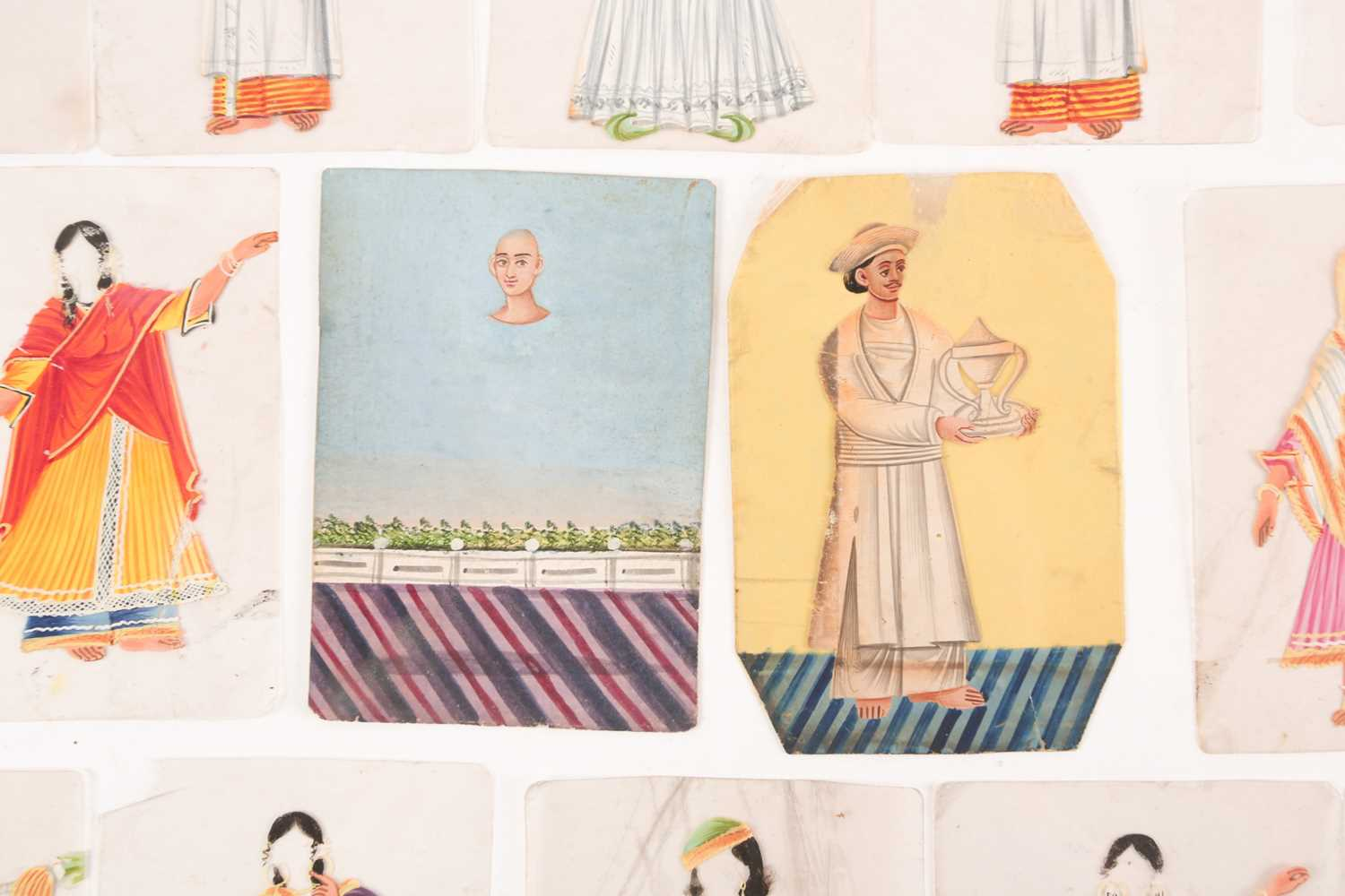 Twenty three Indian Company School mica studies of costumes, 19th century, depicting male and female - Image 6 of 10