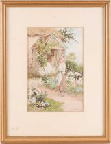 Joshua Fisher (1859-1930), a portrait of a lady in a cottage garden, signed watercolour, 26 cm x