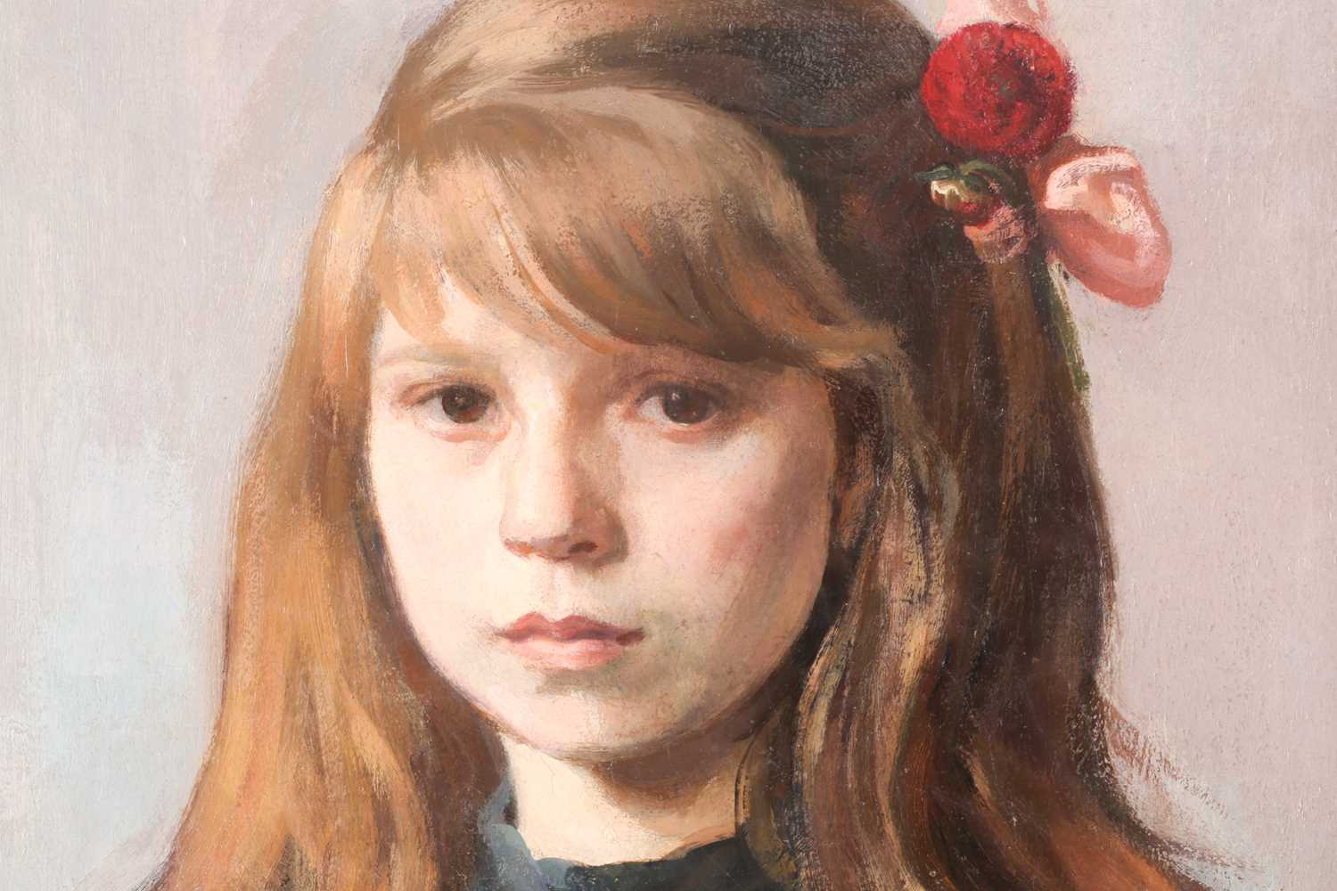 David Abraham Bueno de Mesquita (1889 - 1962), portrait of a young girl with flowers, signed, - Image 4 of 4