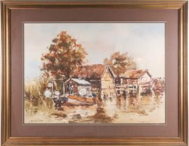 Gerald Edwin Tucker (20th century), fishing huts beside a river, signed watercolour, 49.5 cm x 69.