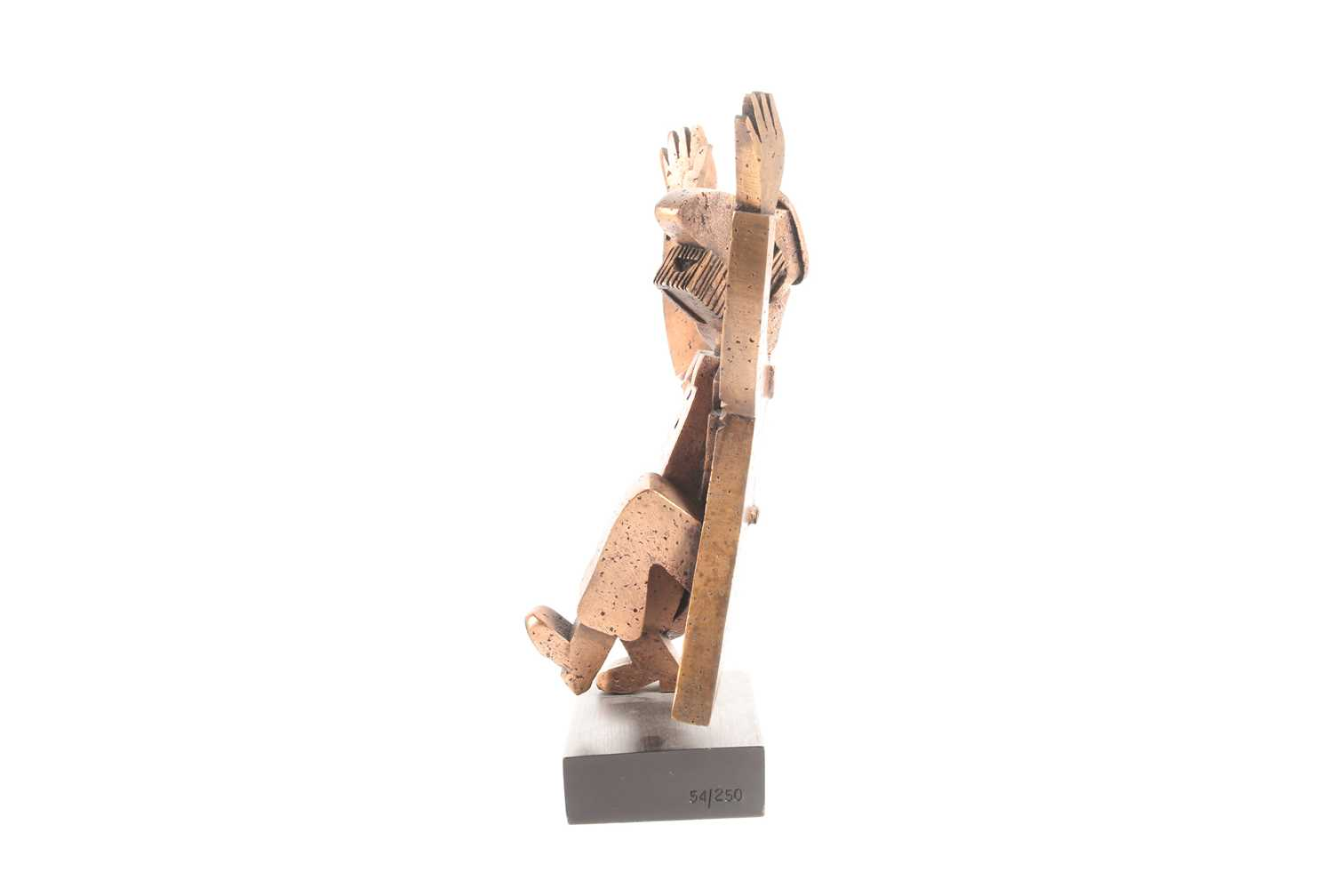Frank Meisler (1929-2018) Israel, an abstract bronzed metal sculpture of a Rabbi, standing on a - Image 5 of 6