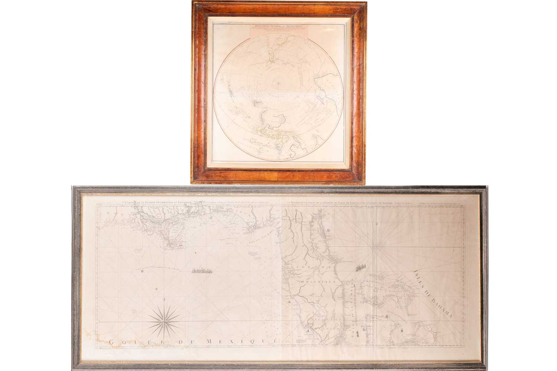 A framed French navigational circular map, 'Hemisphere Austral ou Antarctique', 18th century