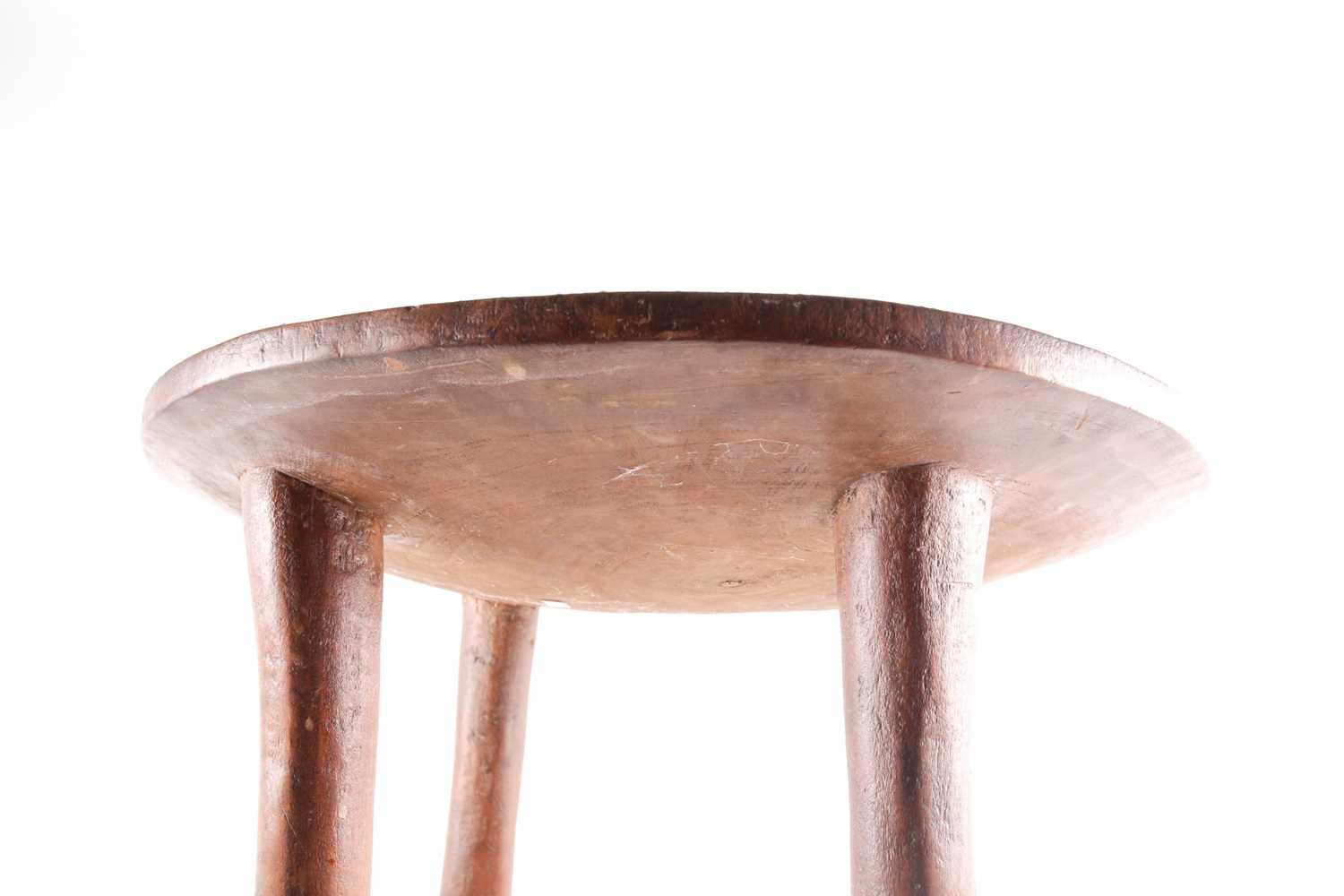 A Kamba stool, Kenya, the circular top inlaid with coloured glass beads, decorated with flower, - Image 6 of 6