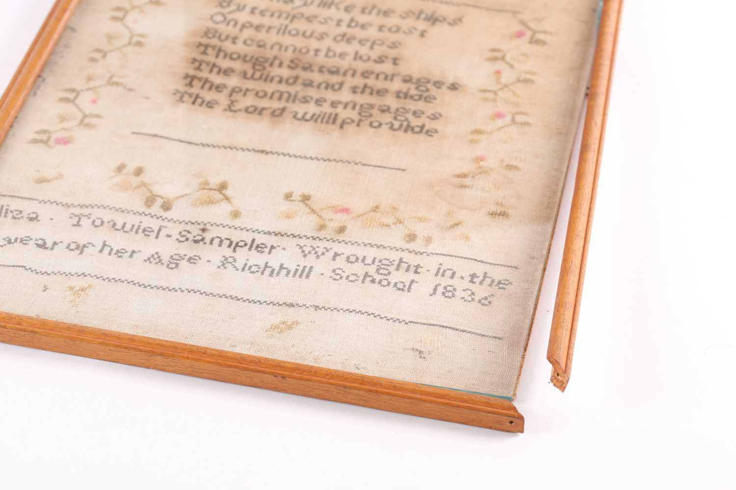 A William IV needlework sampler, with verse from John Newtons 'Olney Hymns ' We may like the ships - Image 4 of 6