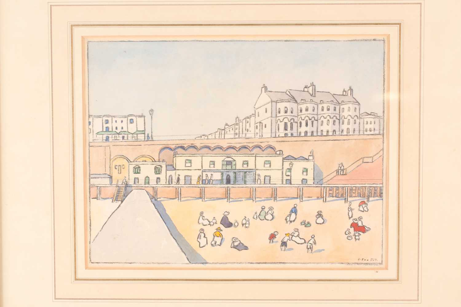 Douglas Fox-Pitt RBA (1864-1922), 'On the Beach at Brighton', pen and watercolour, signed to lower - Image 2 of 4