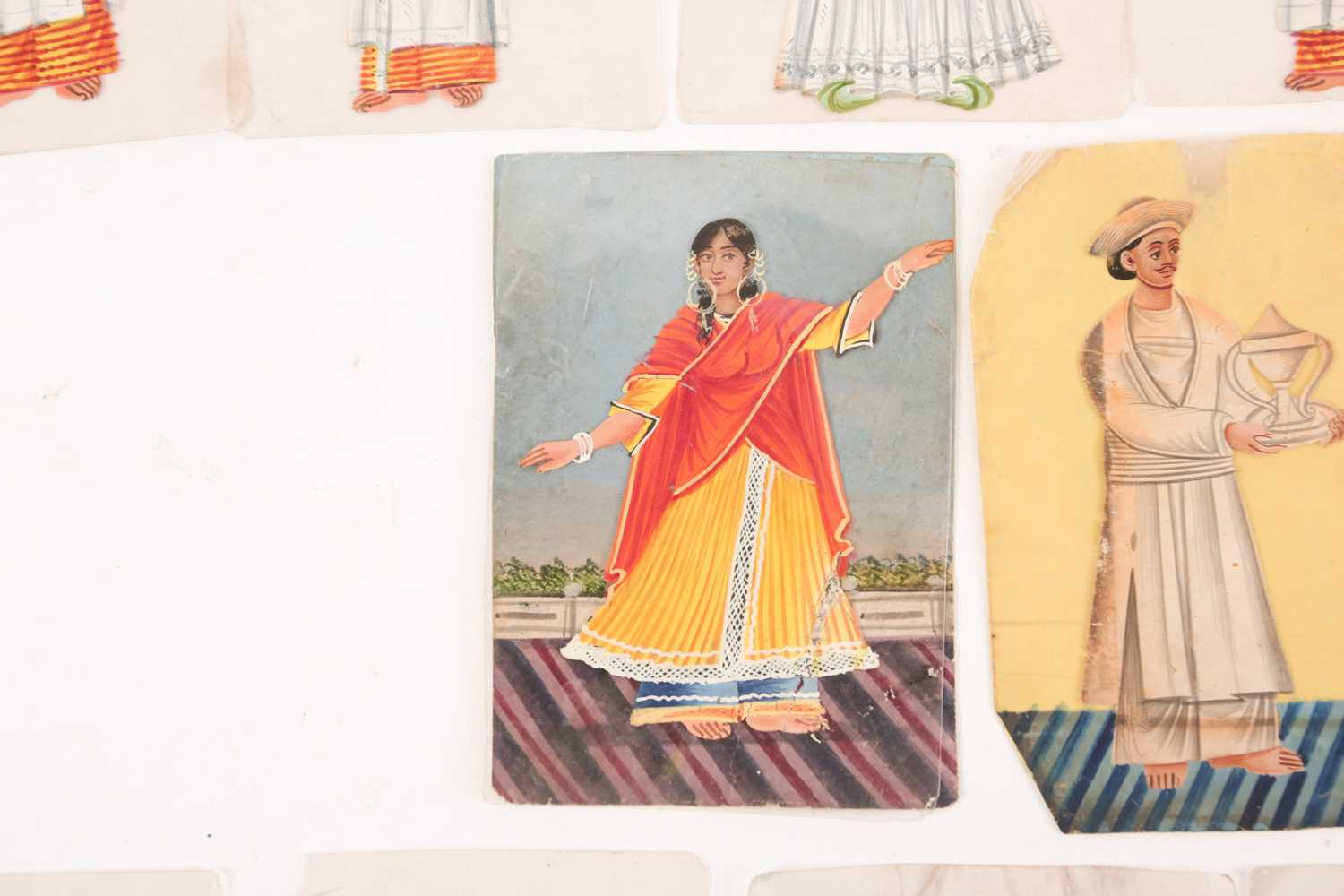 Twenty three Indian Company School mica studies of costumes, 19th century, depicting male and female - Image 5 of 10