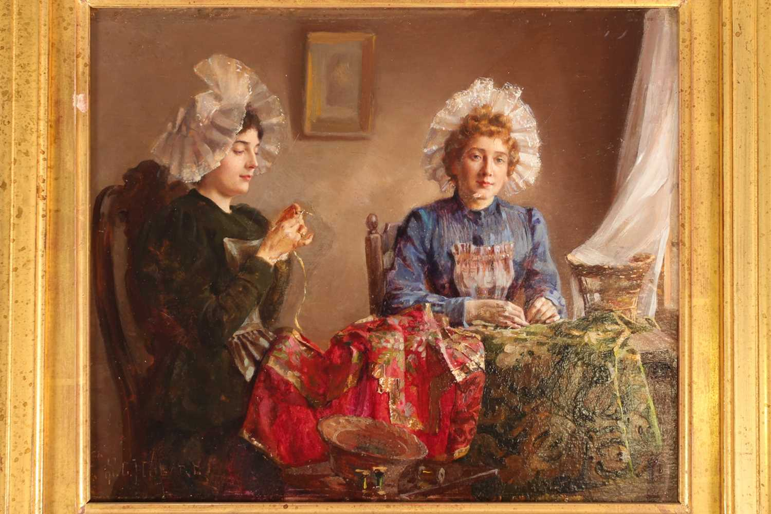 Claude Hugard (French, b 1861), ladies sewing, signed, oil on panel, 23 x 28.5cmPurchased 20th - Image 5 of 5