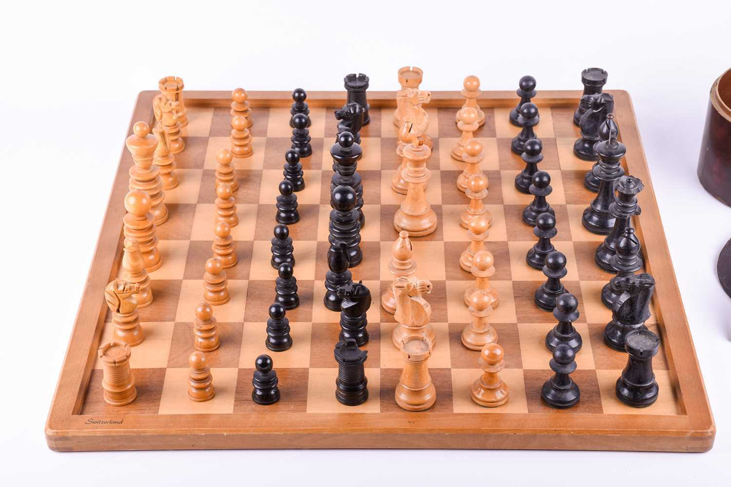 A 19th century turned boxwood and ebony chess set, together with an almost similar 20th century - Image 2 of 8