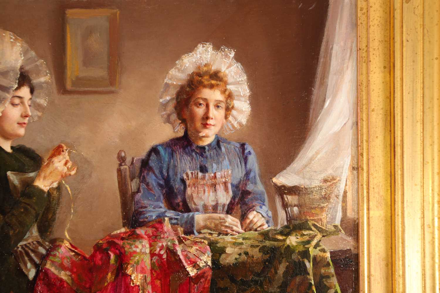 Claude Hugard (French, b 1861), ladies sewing, signed, oil on panel, 23 x 28.5cmPurchased 20th - Image 4 of 5