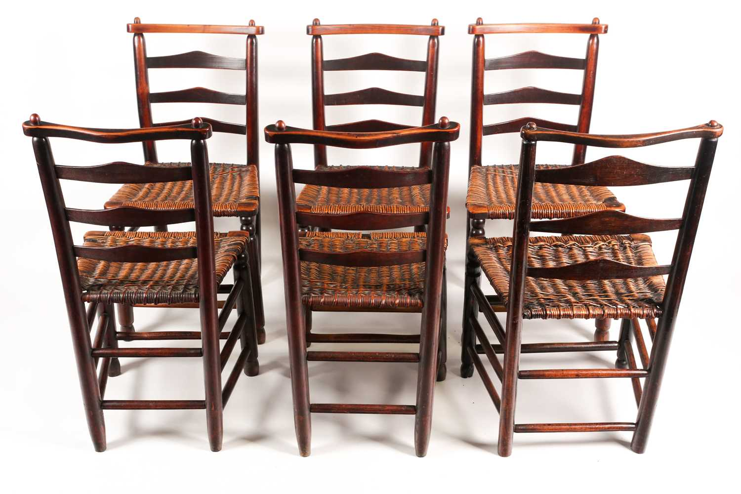 A set of six early 19th-century Macclesfield type ladder back dining chairs with distinctive - Image 3 of 3