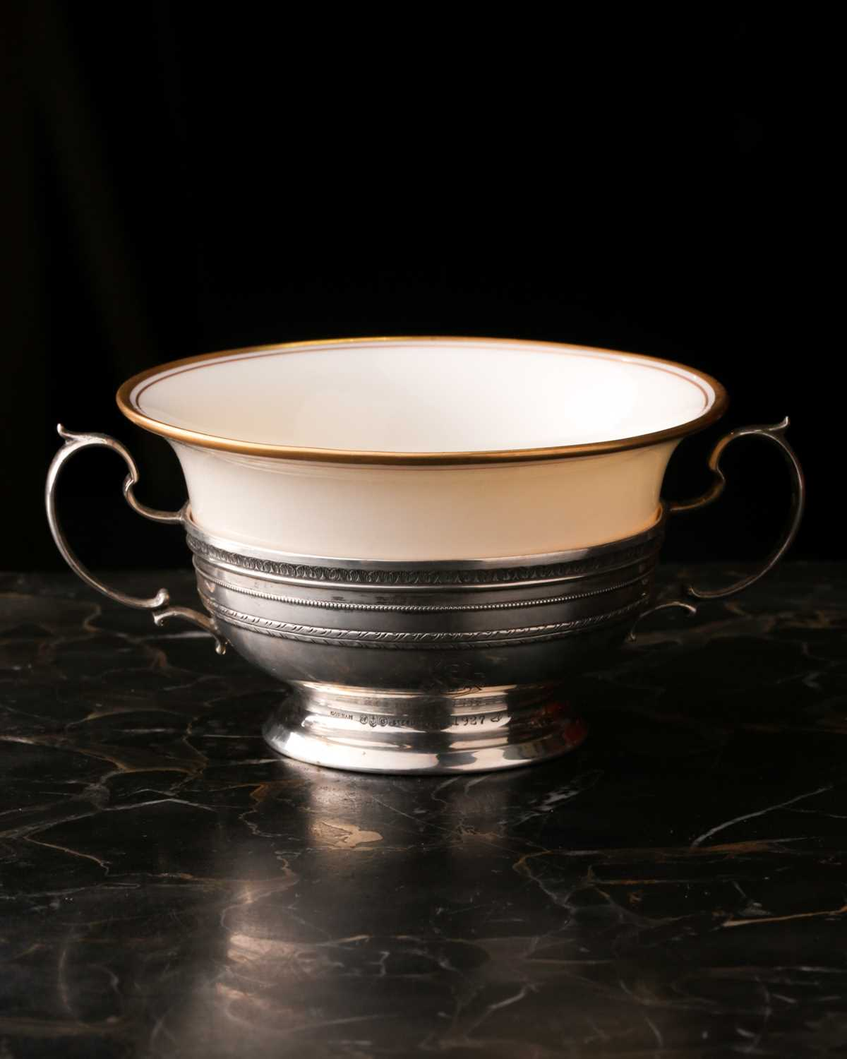 A Lenox Porcelain coffee and dessert service, set in Gorham Sterling Silver mounts, comprising - Image 11 of 26