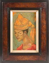 George Biddle (1885-1973) American, portrait of a woman wearing a head-dress, oil on board, signed