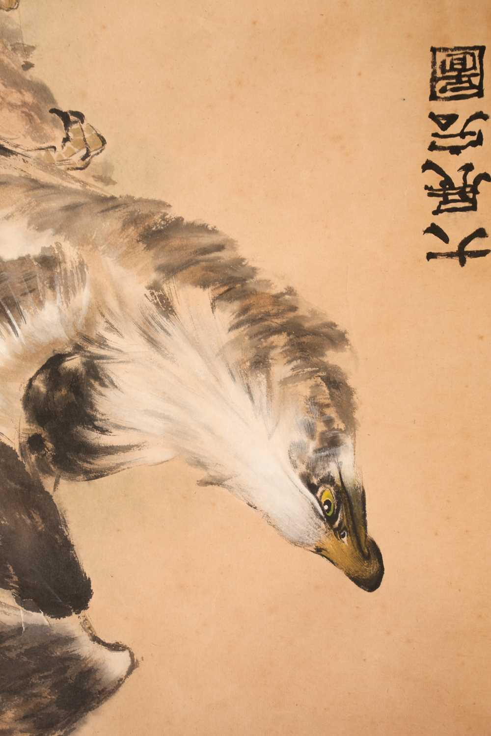A Chinese hanging scroll, painted with an eagle upon a gnarled pine branch, with three red chop - Image 4 of 8