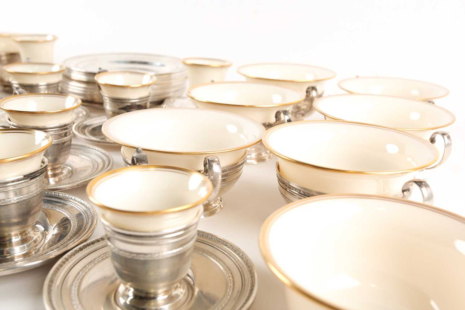 A Lenox Porcelain coffee and dessert service, set in Gorham Sterling Silver mounts, comprising - Image 8 of 26