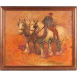Early 20th century English school, an Impasto painting of a drayman with his two cart horses,
