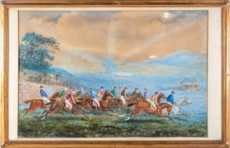 English school, circa 1900, cross country steeplechase, unsigned , watercolour and gouache, 46cm x