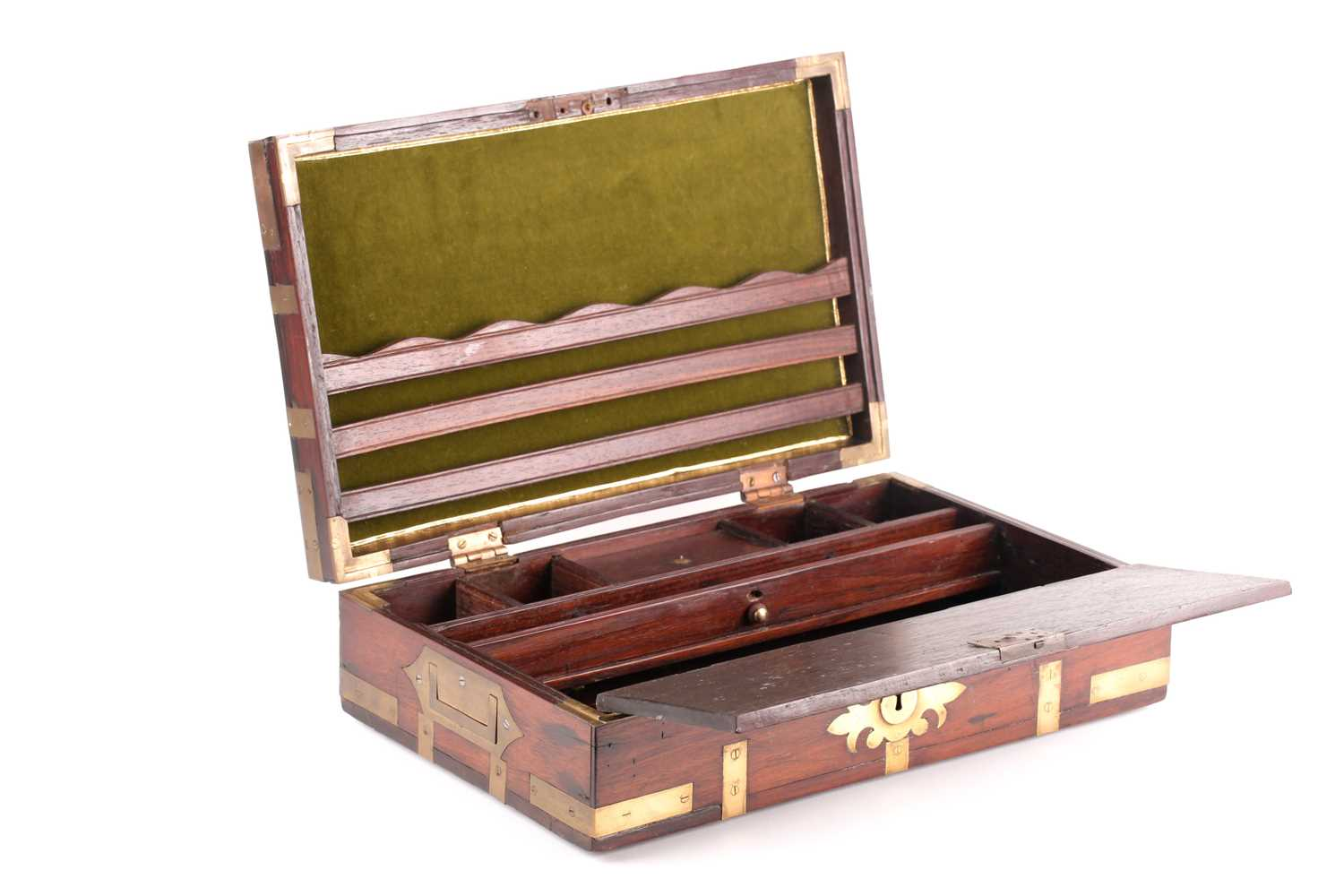 An early 19th-century Anglo-Indian brass bound teakwood campaign correspondence box. With sunken
