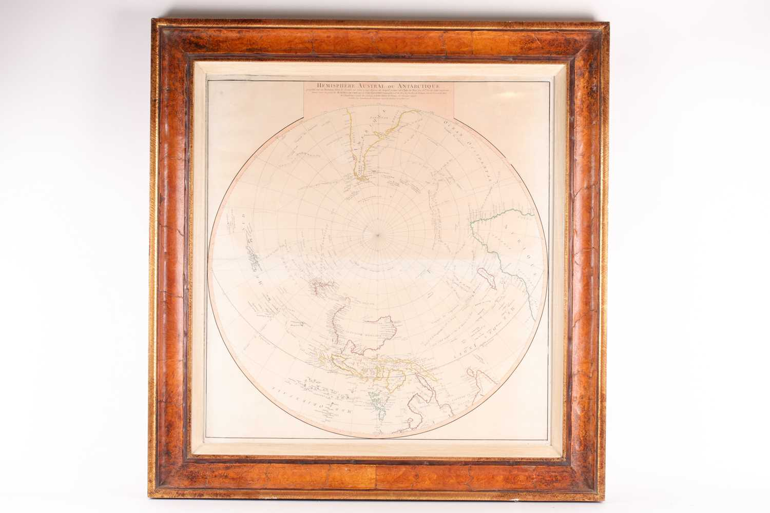 A framed French navigational circular map, 'Hemisphere Austral ou Antarctique', 18th century - Image 5 of 5