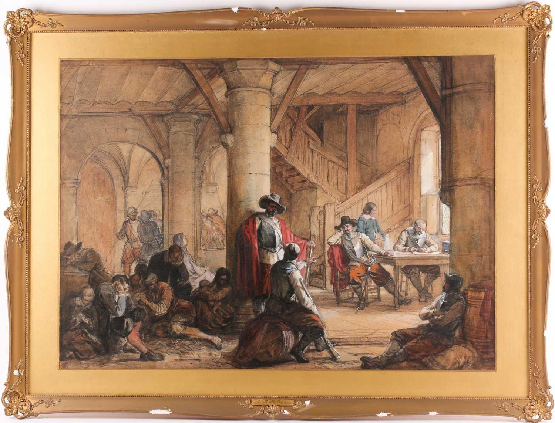 Louis Haghe HPRI (1806-1885) Belgian, 'The Suspects', a large pen & watercolour, 58 cm x 81 cm,
