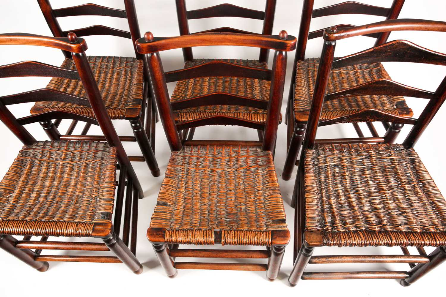 A set of six early 19th-century Macclesfield type ladder back dining chairs with distinctive - Image 2 of 3