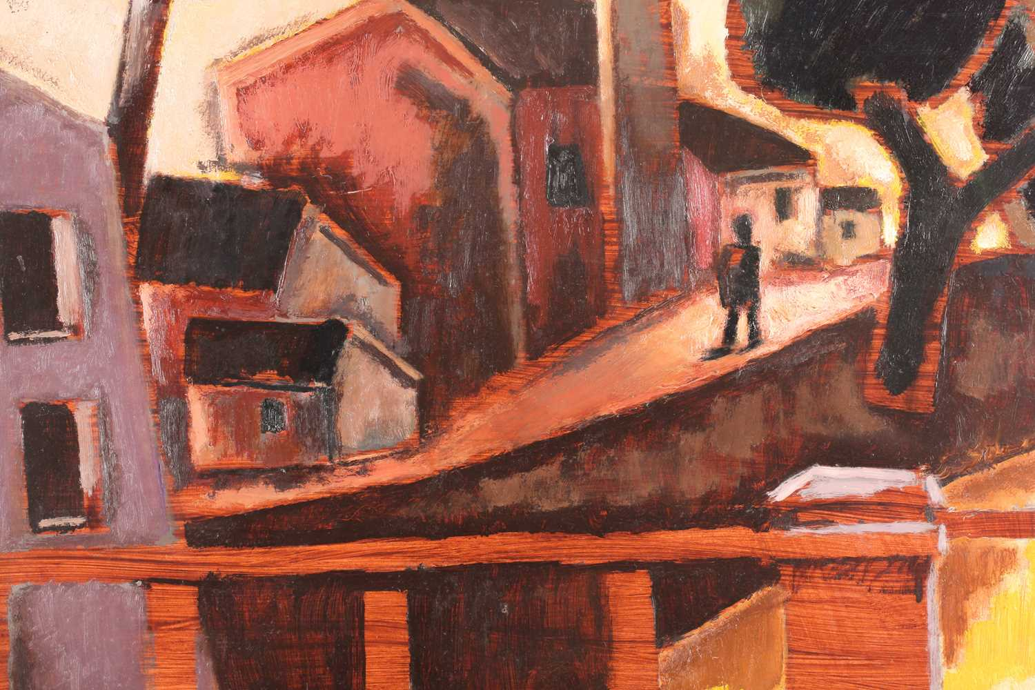 Josef Herman (1911-2000) Polish/British, 'The Little Street', 1953 (and later), a figure before - Image 4 of 6